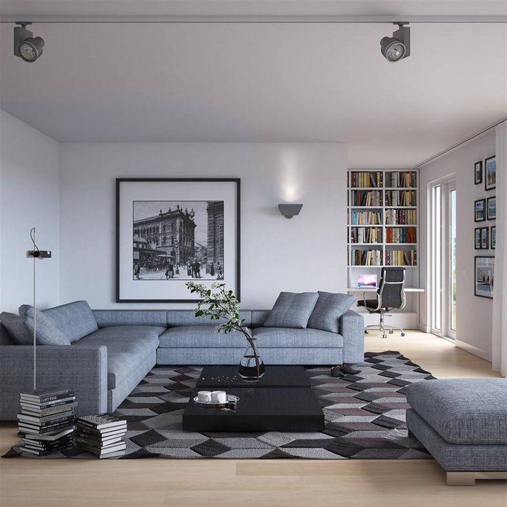 ... woonkamer met grijze moderne hoekbank en kleed met abstract patroon