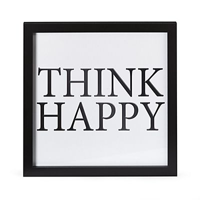 "Wording Image encadrée ""Think happy"" 30x30cm"