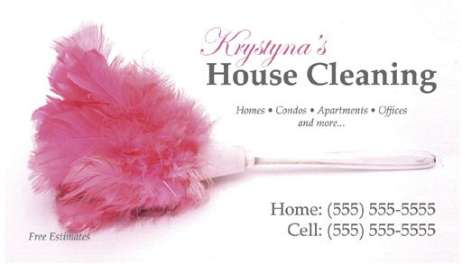 Housekeeping Business Cards Custom fice Cleaning Cards