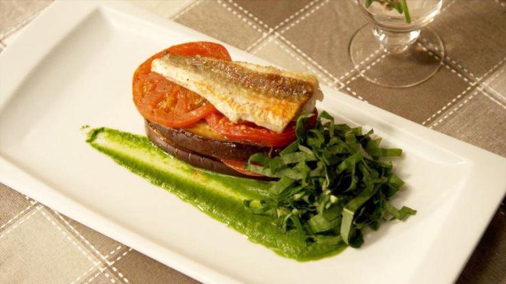 Lasagne van rode poon met aubergine, tomaat en een coulis van platte peterselie | VTM Koken