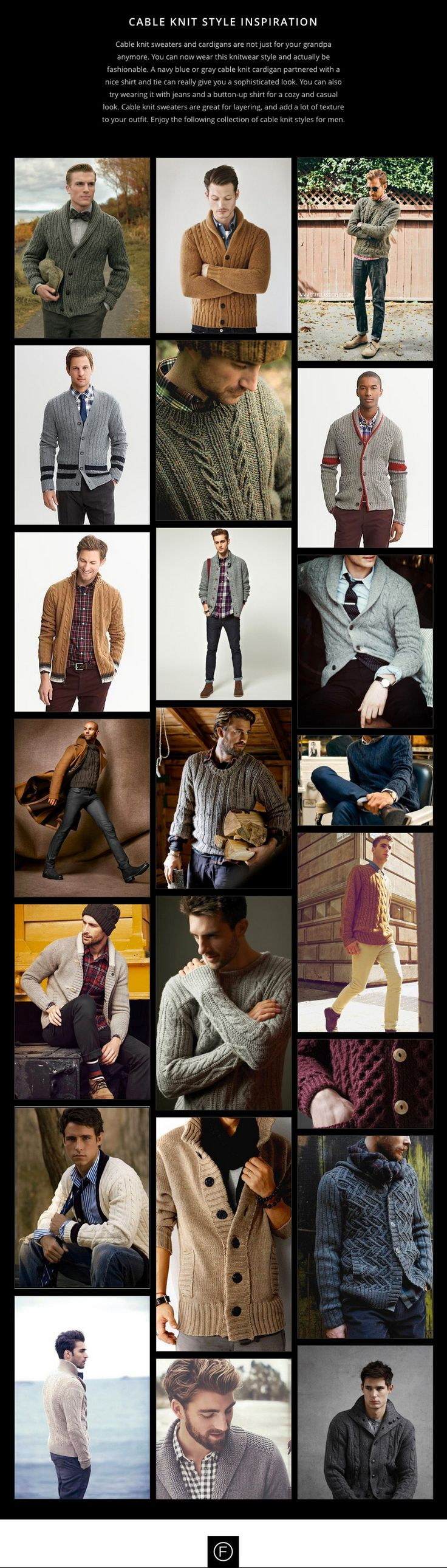 Cable knit sweaters and cardigans are not just for your grandpa anymore.  http://famousoutfits.com/collections/cable-knit-style-inspiration/ #mensfashion #cableknit