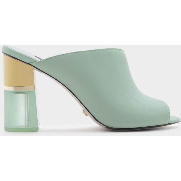 Charles & Keith Asymmetrical Leather Mules (2 135 UAH) ❤ liked on Polyvore featuring shoes, leather mules, leather mules shoes, asymmetrical shoes, mint shoes and block heel shoes