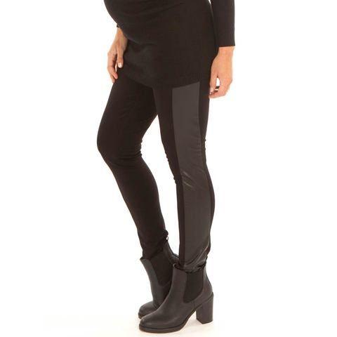 black faux leather panel slim pants | maternity clothing | pregnancy wear online