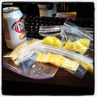Sandwich (turkey or pastrami) on a deli thin bread or bagel thin & 2 servings of fruit and a pickle. The cheese slices were an extra. Caffeine free diet dr. pepper.