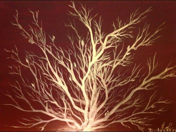 Pintura del arte profético de la zarza ardiente en blanco iridiscente en el fondo de Borgoña, por Pam Herrick, artista en Sólo Para Ti Arte Profético