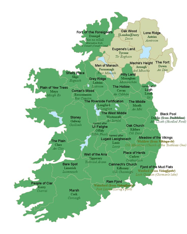 Map of Ireland with the meanings of
