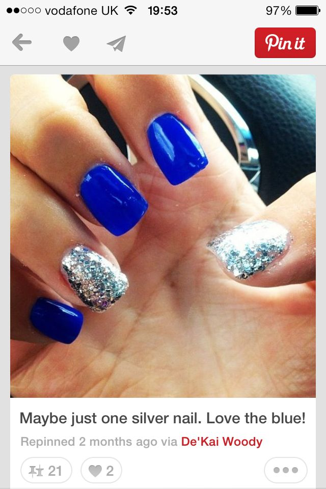 Bright blue nails with silver nail polish.I absolutely love that blue! - Best 25+ Blue Wedding Nails Ideas On Pinterest Navy Nail Designs