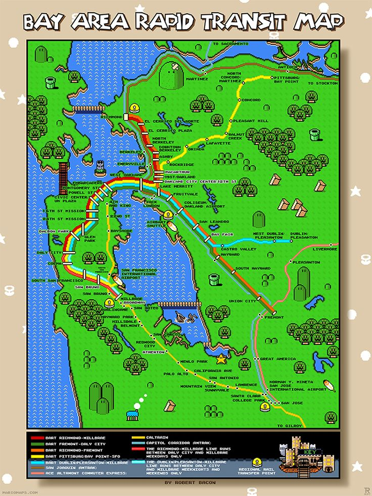 A Map of San Francisco's Bay Area Rapid Transit System Designed in the Style of the Video Game 'Super Mario World'