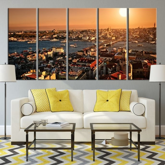 Extra Large Wall Art Istanbul City Bosphorus View Taken From Galata Tower Canvas Print