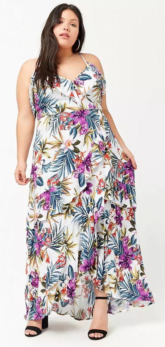 2aeb677a1e6d1 Plus Size Floral Open-Shoulder Dress
