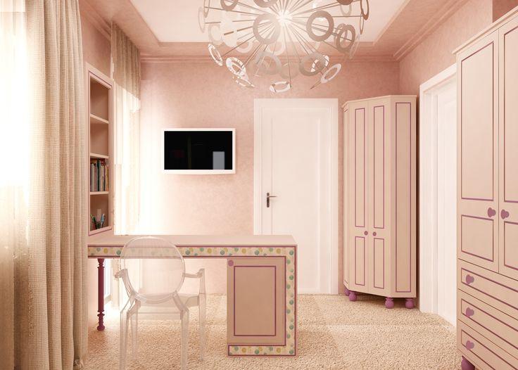 #palepink #desk #whitechair #closet #beigecurtains #whitedoor #ceilinglamp