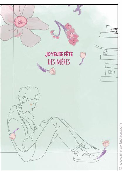 Carte Joyeuse fête des mères et jeune homme pour envoyer par La Poste, sur Merci-Facteur !