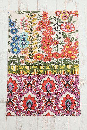 3x5 Floral Stripe Printed Rug