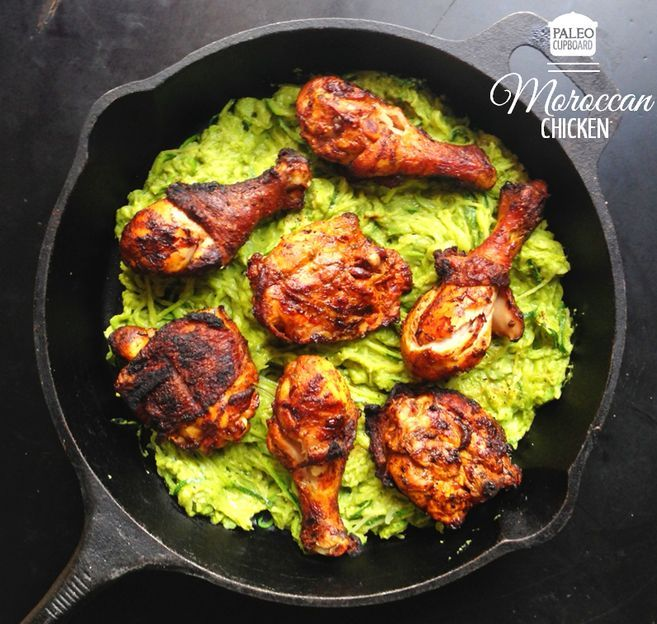 Paleo Moroccan Chicken Recipe (goes great served over zucchini noodles and avocado cream sauce).  PaleoCupboard.com