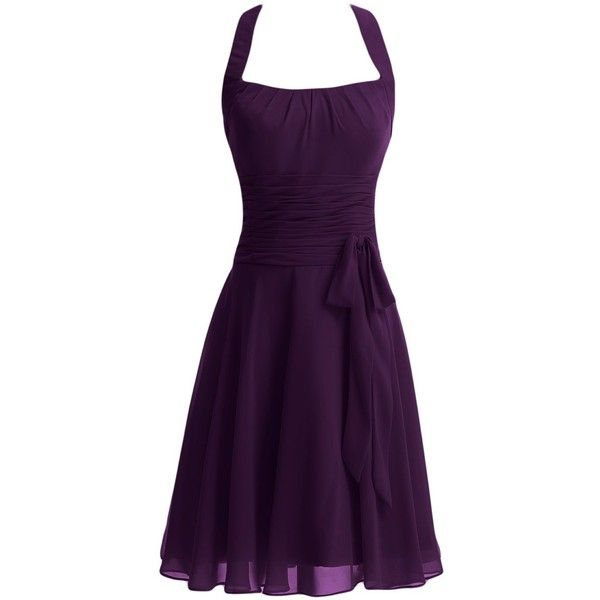 Gorgeous Bridal Women's Short Bridesmaid Party Cocktail Dress (€74) ❤ liked on Polyvore featuring dresses, going out dresses, short bridesmaid dresses, purple cocktail dress, purple dress and bridesmaid dresses