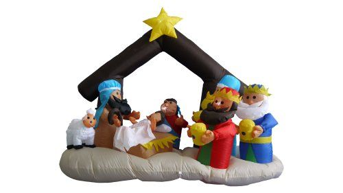 """6 Foot Christmas Inflatable Nativity Scene with Three Kings Decoration. Lights Up for Better Nighttime Viewing. Great for Indoor and Outdoor. Self Inflates in Moment, Inflated Size: 79""""L x 40""""W x 65""""H. Everthing Included: Inflator Fan, Ground Stakes and Tethers. With self-inflating design, this Inflatable will be presented in front of your family in seconds. Simply let the air out and fold it! Worried about storage? Caution: Do not inflate during storms or strong winds."""