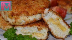 Кабачковые котлетки с куриным филе и сыром