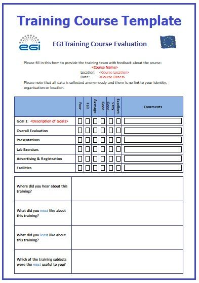 training course schedule template