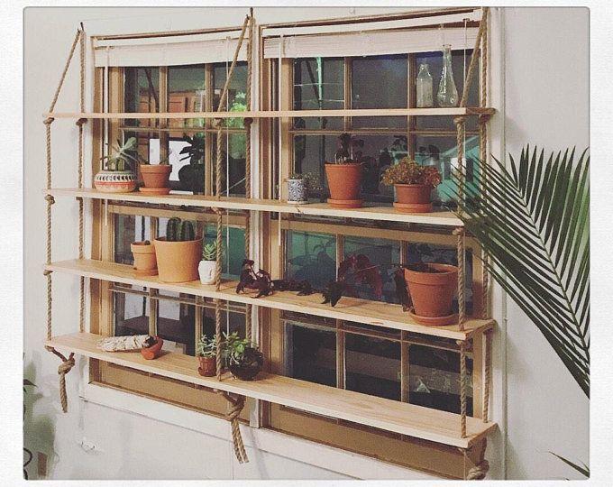 Custom Poplar Rope Hardware Minimilist Hanging Shelf Unit Glass Shelves Hanging Shelves Shelves