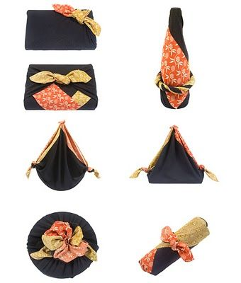Japanese furoshiki. Essentially a square of fabric used to wrap just about anything or made into carrying tote.
