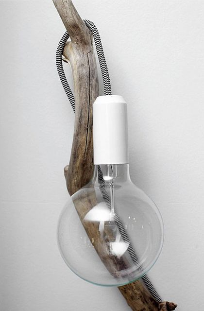 raw wood by the style files, holding Muuto e27