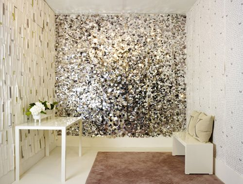 Don't think I could do this in a home, really, but a fun idea... Maybe a closet?? Tracy Kendall wallpaper— sequin wall. #GlitterWalls