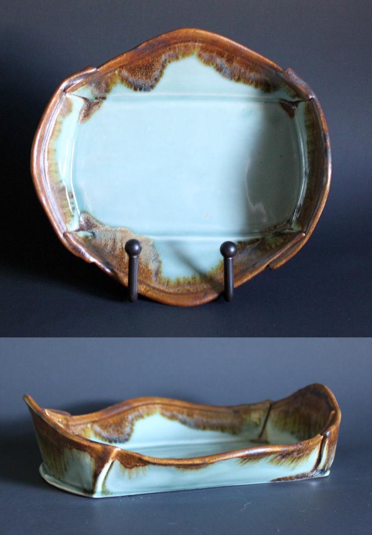 Jon Loer, 2012 - Blue celedon glazed porcelain with rutile stain on the edge, slab built tray
