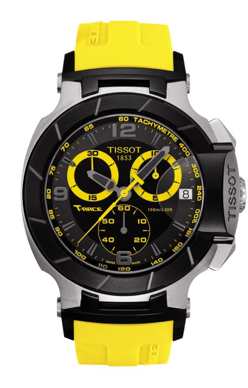 A popular choice of Tissot motor-sport ambassadors, the Tissot T-Race is also a winner off the circuit. This sporty timepiece boasts a dramatic design with bike-racing inspired elements. Constructed with a stainless steel and carbon composite case