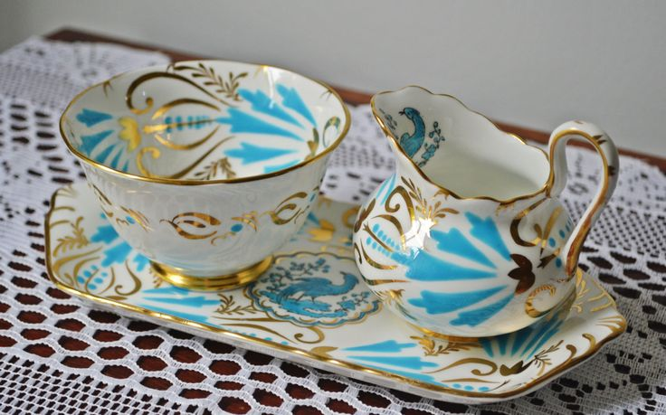 Royal Chelsea Cream Sugar And Tray, Royal Chelsea Bird Of Paradise Demitasse Size, Blue Bird by Collectitorium on Etsy
