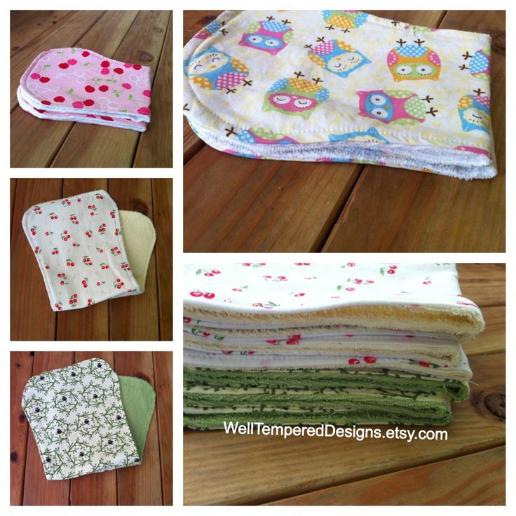 Terry Cloth Burp Cloths with Cherries and Owl WellTemperedDesigns.etsy.com