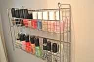 good idea, use a mounted spice rack to store nail polish