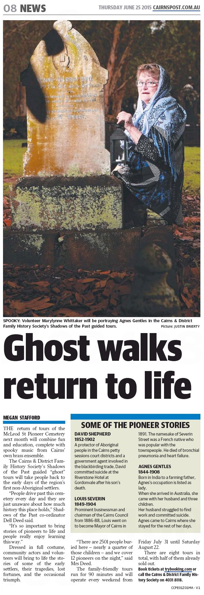 Ghost walks - The Cairns Post, 25 June 2015