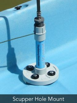 The Skinny Stick Kayak Anchor System - Scupper Hole Mount (Model SH).  Also available in Side Mount / and the NEW Track Mount.  theskinnystick.com