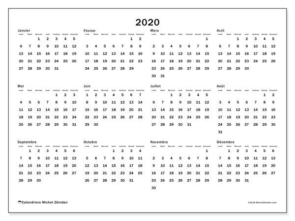 Calendrier Vista Print.Calendrier 2020 32ld Calendar 2019 Printable Lettering
