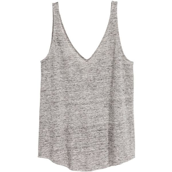 Linen Jersey Tank Top $14.99 (965 INR) ❤ liked on Polyvore featuring tops, white tops, scoop neck tank top, v neck tank top, low cut tank and v-neck tank