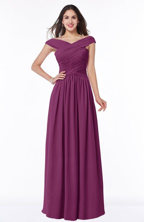 Raspberry Classic A-line Off-the-Shoulder Sleeveless Zip up Floor Length Plus Size Bridesmaid Dresses -colorsbridesmaid.com