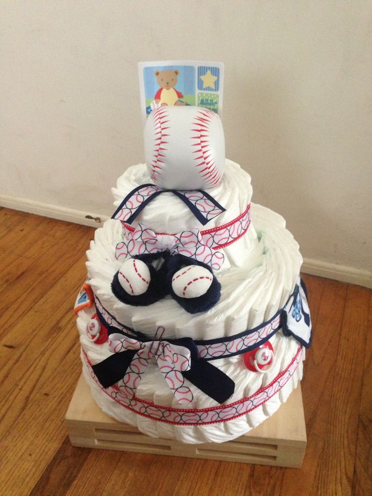 Baseball Diaper Cake for Baby Boy Shower