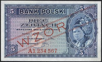 World money Poland 5 old Polish złoty banknote of 1939 (not issued). Bank Polski - Bank of Poland - Government of the Republic of Poland in exile during World War II. Polish złoty, Polish banknotes, Poland banknotes, Polish bank notes, Polish paper money, Poland bank notes, Poland paper money.  Obverse: Polish girl in national headdress.