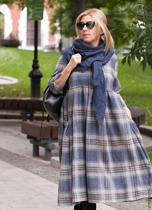 Купить Платье в серо-синюю клетку из шерсти art.86i - синий, в клеточку, платье