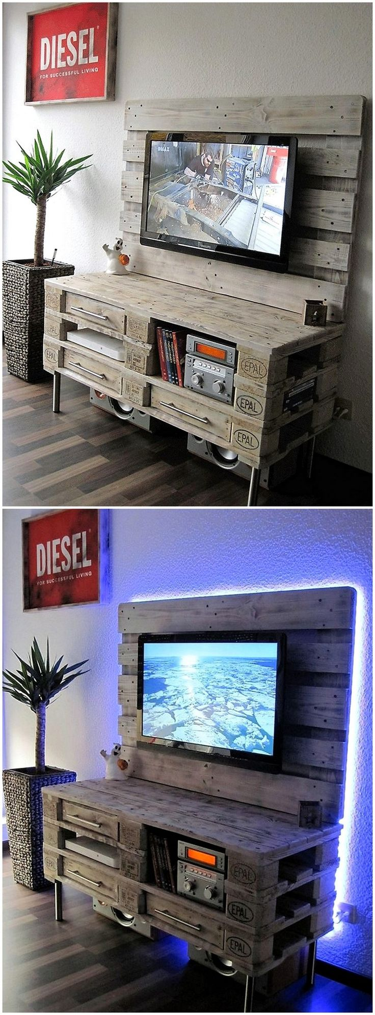 Here is this amazing rustic TV shelf and multimedia cabinet for TV lounge. This is spacious yet covering lesser area in your home. The wooden pallet board for holding TV screen is attached with the shelves and cabinets for placing DVD players, DVDs and other accessories.