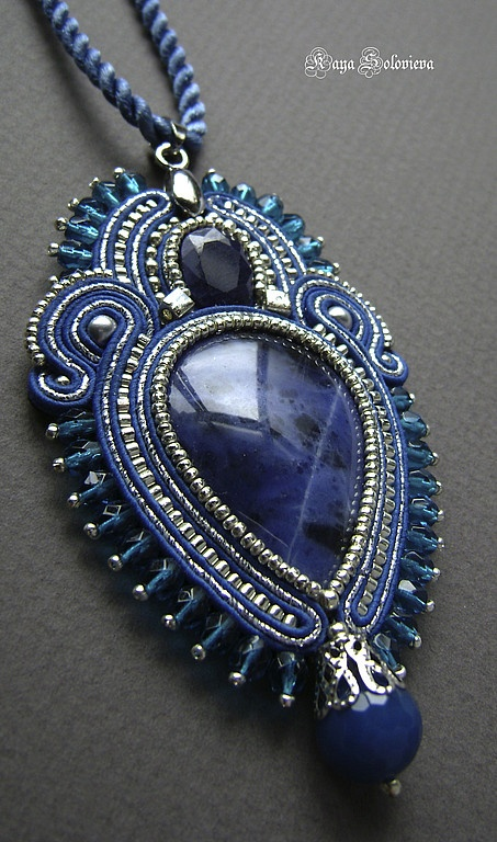 "Soutache blue pendant,  Pendant with sapphire and sodalite ""Sorcerer Lake."" Kaya Solovyov. Fair Masters."