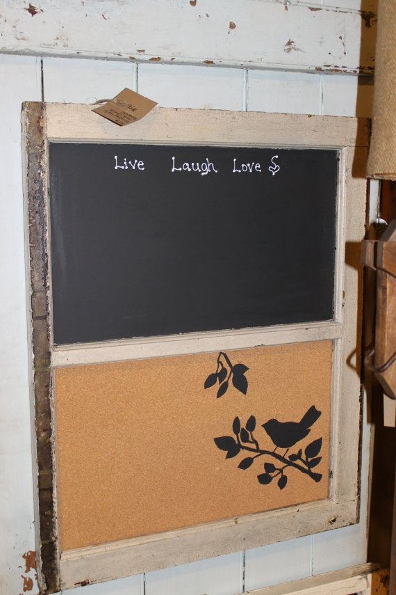 Old window chalk and cork board by wendyyarbrough on Etsy, $45.00