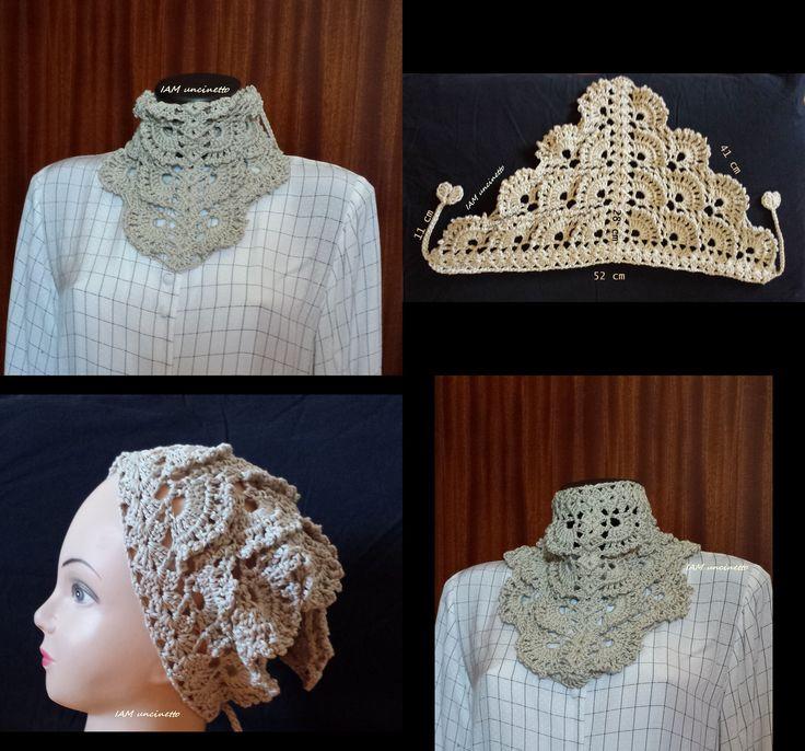 Bandana all'uncinetto, filato cotone e viscosa color ecru, beige o sabbia. Fatto a mano in Italia. Crochet beige sand kerchief. Handmade. Made in Italy
