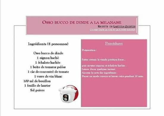 Osso bucco de dinde la milanaise plats cookeo pinterest - Comment cuisiner osso bucco de dinde ...