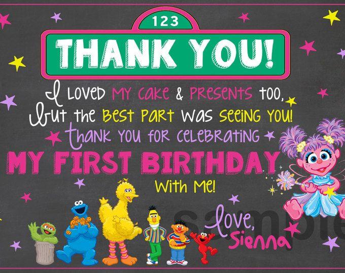 Sesame Street Chalkboard Thank You / Sesame Street Birthday Thank You /Sesame Street Chalkboard Birthday Thank You /Sesame Street Invitation