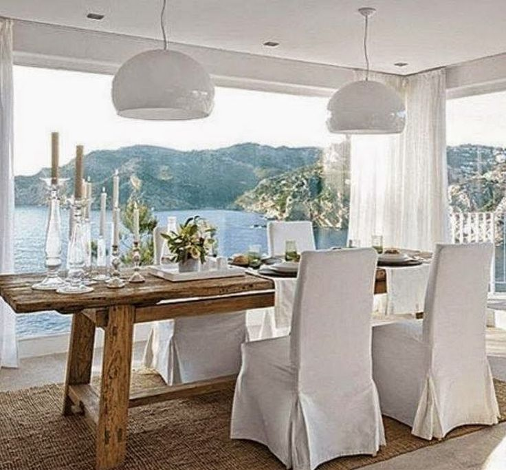 coastal dining Home coastal lake beach waterside  : 88486867b77b65a1e8ca3587964a2115 chair covers dining chairs from www.pinterest.com size 736 x 683 jpeg 82kB