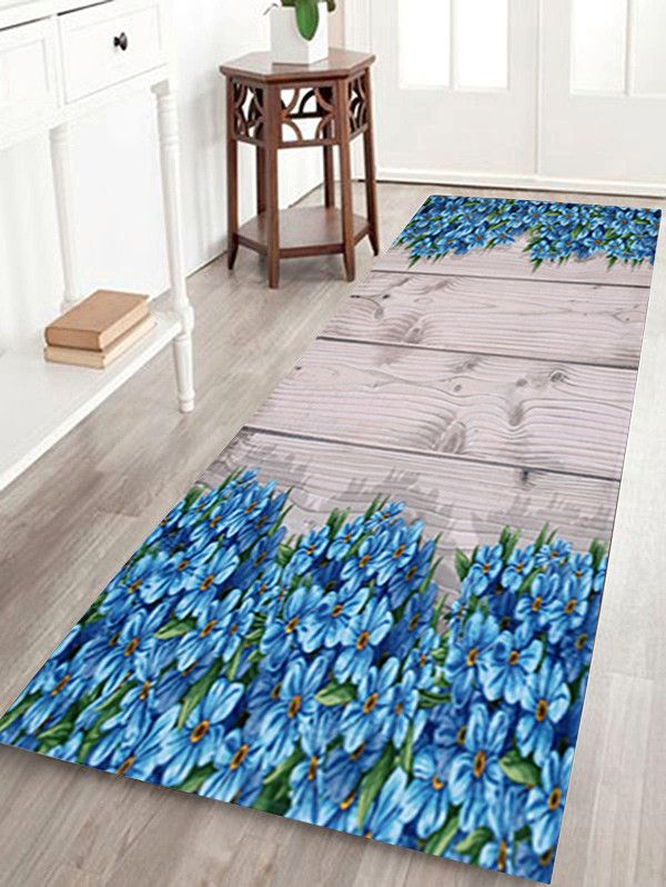 Plank Floral Soft Absorption Large Bathroom Rug