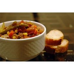Carrots, celery, onions, cabbage, corn, and green beans -- this soup is full of vegetables!  With ground beef, beans, and macaroni, a loaf of warm, crusty bread is all you need for a well-rounded dinner.