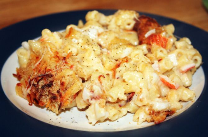 This imitation crab macaroni and cheese recipe is courtesy of Mid-Atlantic Dairy Associations staff member Stephanie (Beeman) Roscinski.