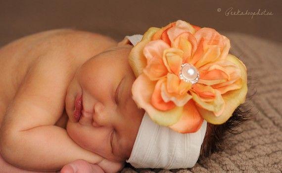 Citrus Creme ... Laranja Flor em ampla faixa de cabeça Super macio Creme Nylon com pérola moda e strass centro